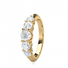 Round Yellow Gold 5 Stone Diamond Rings