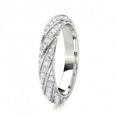 Pave Setting Half Eternity Diamond Ring - HG0649_A60