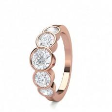 Rond Or Rose 5 Pierres Bague Diamant