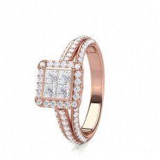 Mixed Shapes Rose Gold Diamond Cluster Rings