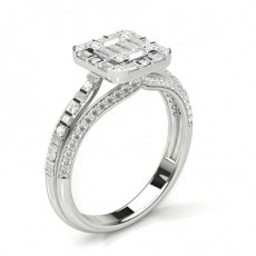 White Gold Engagement Cluster Rings