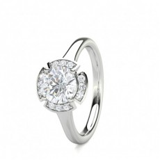 4 Prong Setting Plain Halo Engagement Ring - CLRN1668_01