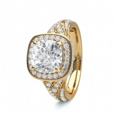 Cushion Yellow Gold Engagement Rings
