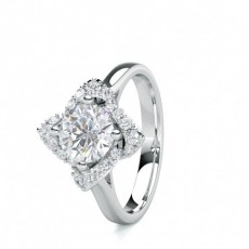 4 Prong Setting Plain Halo Engagement Ring - CLRN1672_01