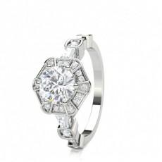 White Gold Round Diamond Engagement Ring - CLRN1680_01