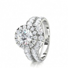 4 Prong Setting Studded Engagement Ring With Matching Band - CLRN1683_01