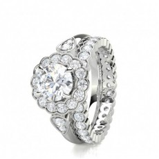 4 Prong Setting Studded Engagement Ring With Matching Band - CLRN1684_01