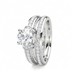 4 Prong Setting Studded Engagement Ring With Matching Band - CLRN1703_01