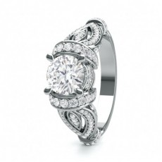 4 Prong Setting Studded Engagement Ring - CLRN1715_01