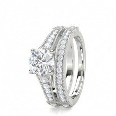 4 Prong Setting Studded Engagement Ring With Matching Band - CLRN1717_01