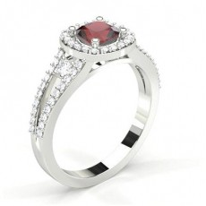 4 Prong Setting Ruby Halo Engagement Ring