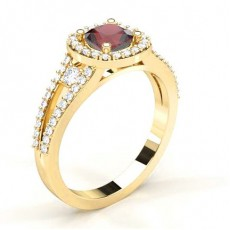 4 Prong Setting Ruby Halo Engagement Ring - CLRN1949_RB_01