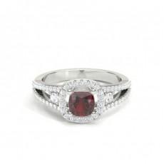 4 Prong Setting Gemstone Halo Engagement Ring