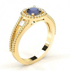 4 Prong Setting Blue Sapphire Halo Engagement Ring - CLRN1950_BS_01