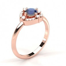 4 Prong Setting Blue Sapphire Halo Engagement Ring - CLRN1951_BS_01