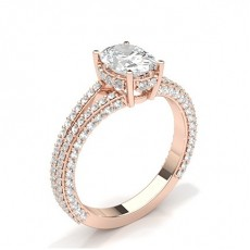 Oval Rose Gold Side Stone Engagement Rings