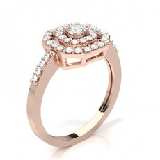Round Rose Gold Halo Engagement Rings