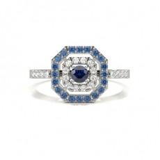 Round Silver Gemstone Engagement Rings