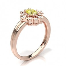 Oval Rotgold Gelber Diamant Ringe