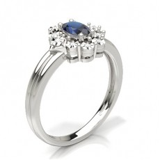 Prong Setting Blue Sapphire Fashion Ring