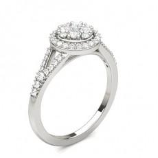 Round Platinum Diamond Cluster Rings