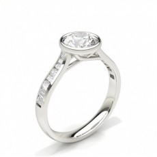 Full Bezel Setting Side Stone Engagement Ring