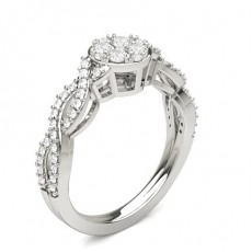 Round Silver Diamond Cluster Rings