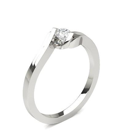 Runder Diamant Verlobungsring in einer Balkenfassung