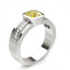 Kissen Platin Gelber Diamant Verlobungsringe
