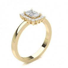 Emerald Yellow Gold Halo Engagement Rings