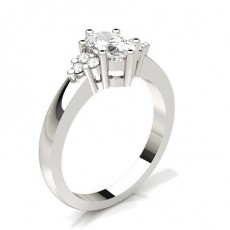 Silver Side Stone Engagement Rings