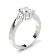 Cushion Silver Side Stone Diamond Rings