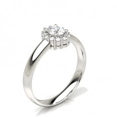 Oval White Gold Halo Diamond Engagement Rings