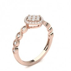 Round Rose Gold Diamond Cluster Rings