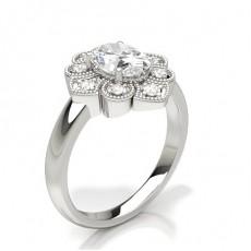 Oval Diamond Cluster Rings