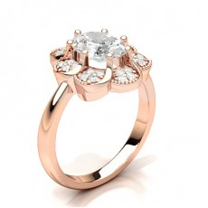 Oval Rose Gold Diamond Cluster Rings