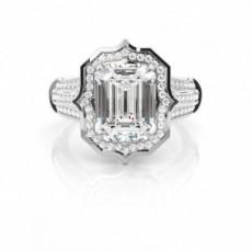 4 Prong Setting Emerald Diamond Halo Engagement Ring