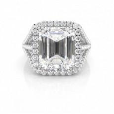 Double Prong Emerald Diamond Halo Engagement Ring