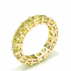 Cushion Yellow Gold Diamond Eternity Rings