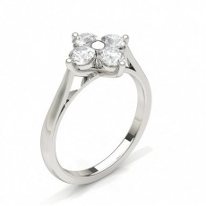 Silver Diamond Cluster Rings