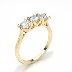 Round Yellow Gold Trilogy Diamond Rings