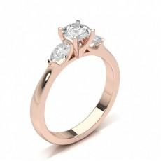 4 Prong Setting Round Diamond Three Stone Ring