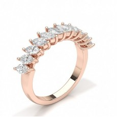 Marquise Rose Gold Diamond Half Eternity Rings