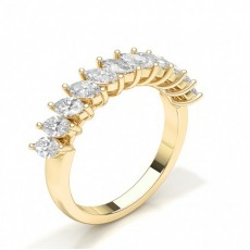 Marquise Yellow Gold Diamond Half Eternity Rings