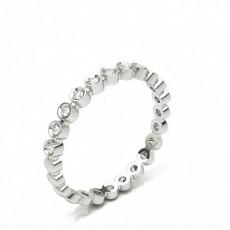 Round Silver Diamond Half Eternity Rings