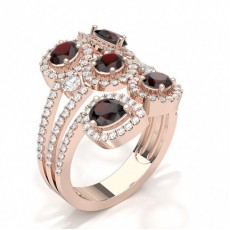 Oval Rose Gold Statement Diamond Rings