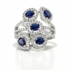 Prong Setting Oval And Pear Blue Sapphire Fashion Ring