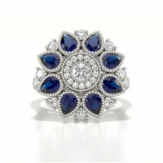 5 Prong Setting Round Blue Sapphire Fashion Ring