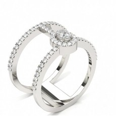 Oval Platinum Statement Diamond Rings