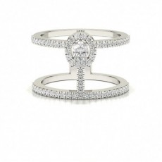 Pave Setting Oval Diamond Fashion Ring